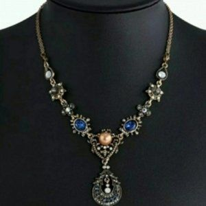 Pearl Moonstone Sapphire Bib Collar Necklace